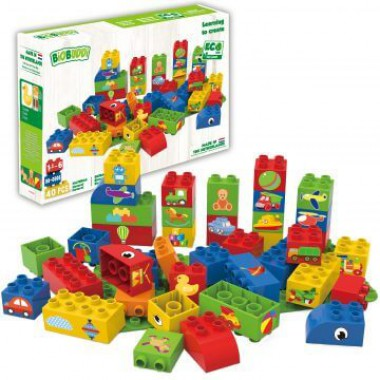 BiOBUDDi Educational blocks with 1 baseplate - boys