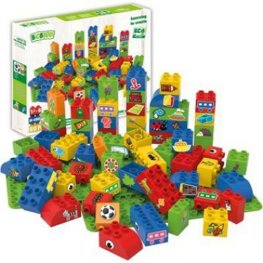 BiOBUDDi Educational blocks with 2 baseplates - boys