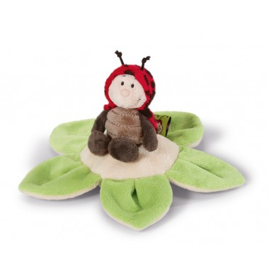 NICI Ladybird 10cm on flower cushion