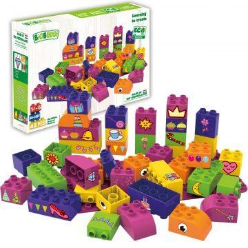 BiOBUDDi Educational blocks with 1 baseplate - girls