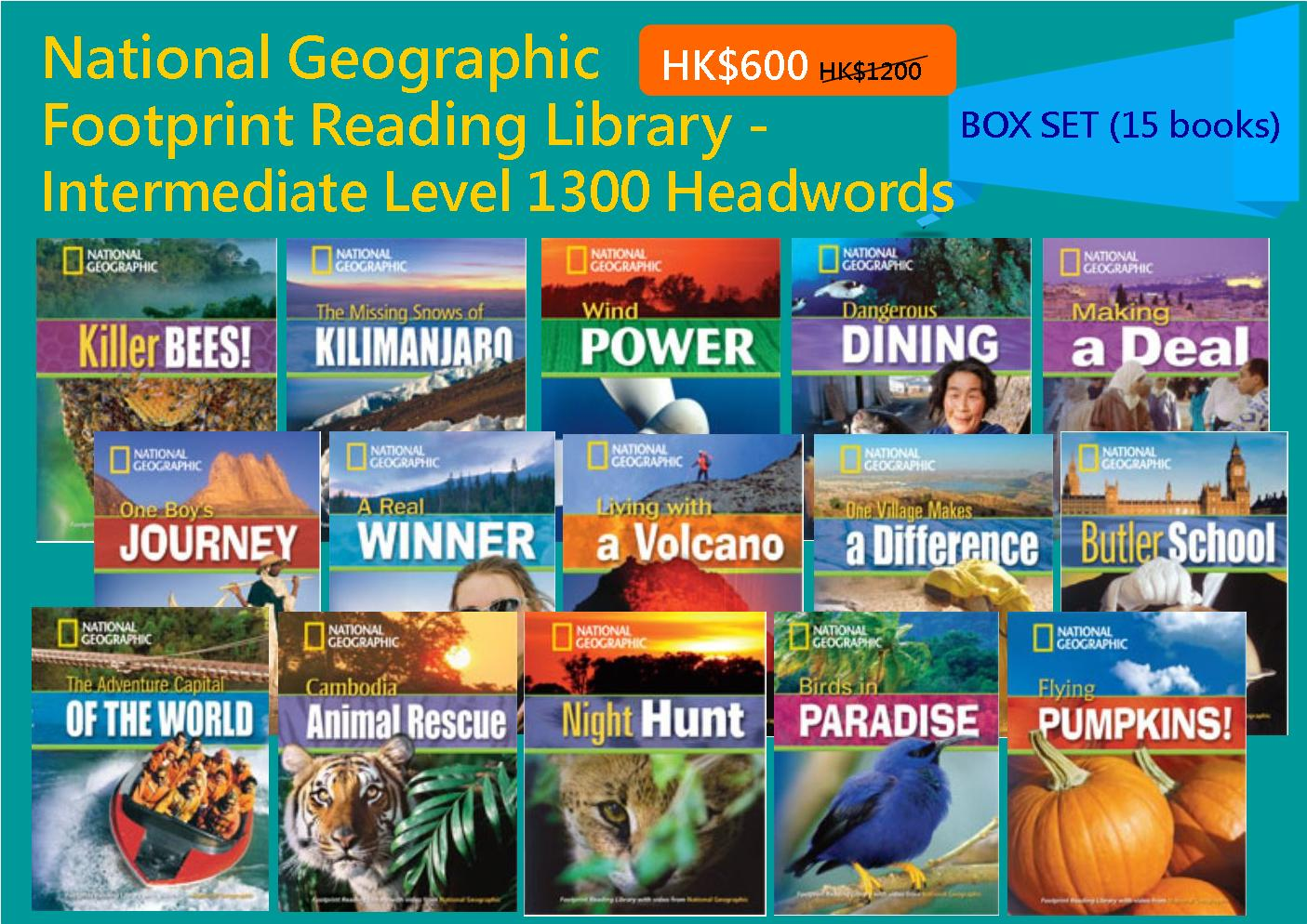 National Geographic Footprint Reading Library - Intermediate Level 1300 Headwords (Box Set - 15 books)