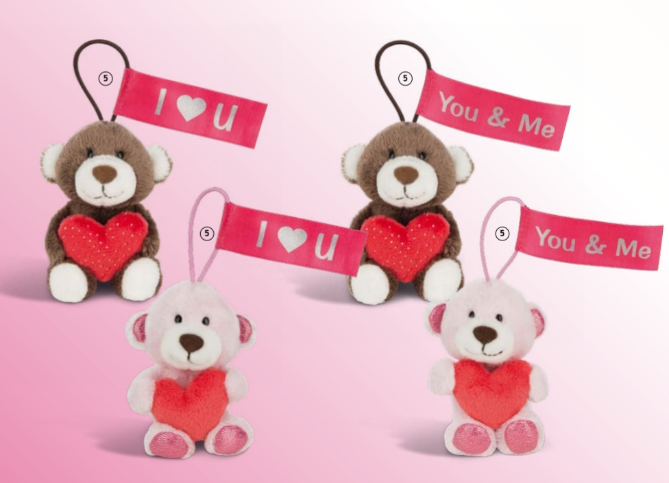NICI Love bears 11cm with loop, 4 des. in display